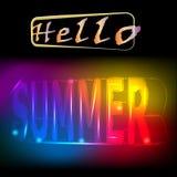 Hello-de zomerachtergrond met de brieven in de 3d stijl, vector, illustratie Royalty-vrije Stock Afbeeldingen