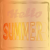 Hello-de zomerachtergrond met de brieven in de 3d stijl, vector, illustratie Stock Afbeeldingen