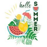 Hello-de zomeraffiche met watermeloen, van de de cocktailtekst van monstera de tropische bladeren leuke hand getrokken banner royalty-vrije illustratie