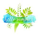 Hello-de zomerbanner op groene waterverfverf Royalty-vrije Stock Fotografie
