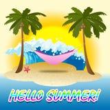 Hello-de Zomermiddelen nu net en Stranden stock illustratie