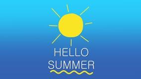 Hello-de Zomertekst en zon op blauwe gradiëntachtergrond die wordt geanimeerd Het concept van de vakantie 4K stock illustratie