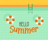 Hello-de zomertekst met een zwembadachtergrond Vectorillustratieontwerp voor seizoengebonden vakantie, vakanties, toevlucht, de z stock illustratie
