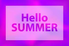 Hello-de zomerwoorden op een heldere violette achtergrond stock illustratie