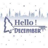 Hello december royalty-vrije illustratie
