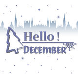 Hello December. Abstract colorful background with decorative fir tree, snowflakes and the text hello December written in blue royalty free illustration