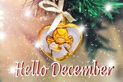 Hello December background design for your greetings card, invitation, posters, brochure, banners, calendar Royalty Free Stock Images