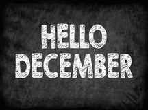 Hello december. Black board with texture, background. Hello december. Black board with texture background Royalty Free Stock Photos