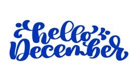Hello december blue text, hand lettering phrase. Vector Illustration t-shirt or postcard print design, vector. Calligraphy text design templates, Isolated on Vector Illustration