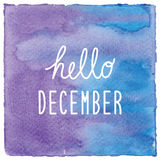 Hello December on blue and violet watercolor background Royalty Free Stock Photos