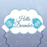 Hello December bokstäver på vinterbakgrund med tumvanten Fotografering för Bildbyråer