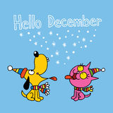 Hello December card with cute puppy and kitten royalty free illustration