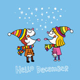 Hello december card royalty free illustration
