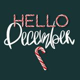 Hello December - creative poster Royalty Free Stock Image