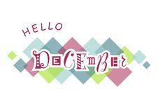 Hello December with different letters in pink with white outlines on white background with colorful squares. Decorative lettering of Hello December with royalty free illustration