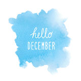 Hello December greeting with blue watercolor background Royalty Free Stock Image