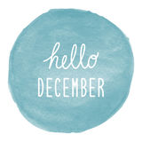 Hello December greeting on blue watercolor background Stock Photography