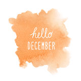 Hello December greeting with orange watercolor background Stock Image