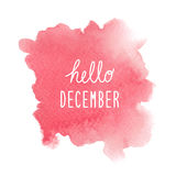 Hello December greeting with red watercolor background Stock Photos