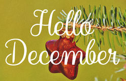 Hello December greeting stock photos