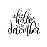 Hello december hand lettering positive quote to christmas holida Stock Images