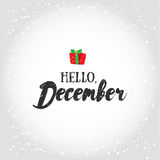 Hello, December. Holiday greeting card with calligraphy elements. Christmas lettering cartoon background. Stock Photo