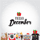 Hello, December. Holiday greeting card with cute cat characters and calligraphyelements. Modern lettering with with cartoons Royalty Free Stock Images