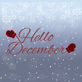 Hello December lettering on blue background Stock Photos
