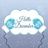 Hello December lettering on winter background with mittens Stock Image