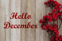 Hello December meddelande Arkivbild