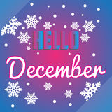 Hello December snöflingor och bokstäversammansättningsreklamblad eller förbud Arkivbild