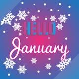 Hello December snöflingor och bokstäversammansättningsreklamblad eller förbud Royaltyfri Fotografi