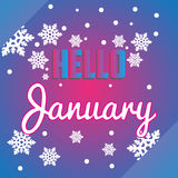 Hello December snowflakes and lettering composition flyer or ban Royalty Free Stock Photography