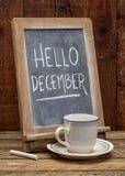 Hello December svart tavlatecken arkivfoton
