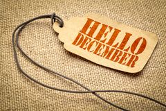 Free Hello December - Text On A Price Tag Royalty Free Stock Image - 133061426