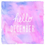 Hello December text on pink blue and violet watercolor backgroun Stock Photo