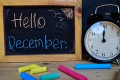 Hello december tillbaka begreppsskola till royaltyfri foto