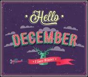 Hello december typografisk design. Fotografering för Bildbyråer