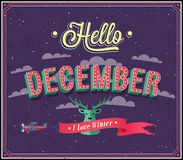 Hello december typographic design. Stock Image