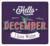 Hello december typographic design. Royalty Free Stock Photography