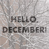 Hello December. Winter background. Greeting Card. Typographic design Royalty Free Stock Photo