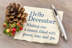 Hello December. Wishing you peace, love an d joy. Hello December. Wishing you a month filled with peace, love an d joy.   Handwriting on a napkin with with a Royalty Free Stock Photography