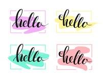 Hello die illustratie van letters voorzien Stock Afbeelding