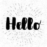 Hello die - voor groetkaart van letters voorzien Vectordieillustratie op wit wordt geïsoleerd Hand geschreven tekst voor Web, ann vector illustratie