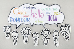 Hello in Different International Global Foreign Languages Bonjour Ciao Hola Stock Photography