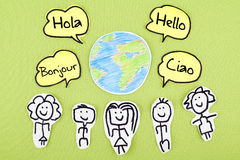 Hello in Different International Global Foreign Languages Bonjour Ciao Hola Stock Photo