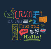 Hello in different languages. Hello on foreign languages. Vector illustration. Learning background with the word hello in different languages Royalty Free Stock Image