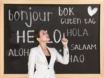 Hello in different languages. Woman near words hello in different languages on chalkboard royalty free stock image