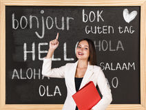 Hello in different languages. Woman near words hello in different languages on chalkboard stock image