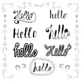 Hello in different style vector set. Hand drawn romantic design Royalty Free Stock Images
